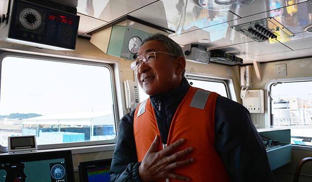大船頭の前川渡さん。温和な表情ながら誰からも尊敬される気仙沼を海の男。翌日は渡辺謙さんとの対談に登壇