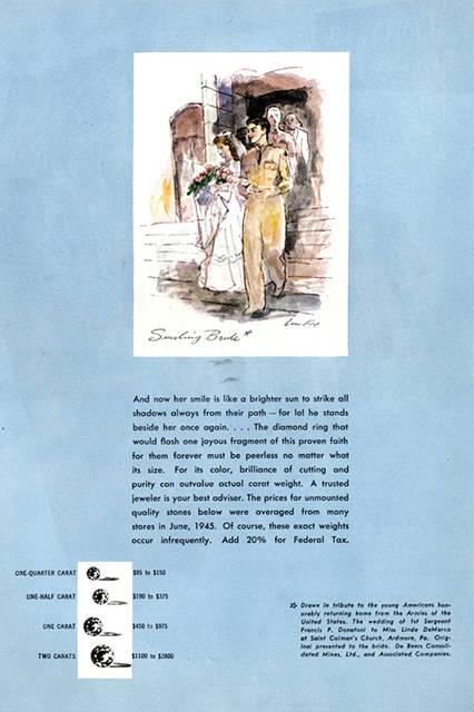 """""""A Diamond is Forever""""のキャッチコピーで、ダイヤモンドが結婚の礎にふさわしい存在と知らしめた1947年当時の広告。"""