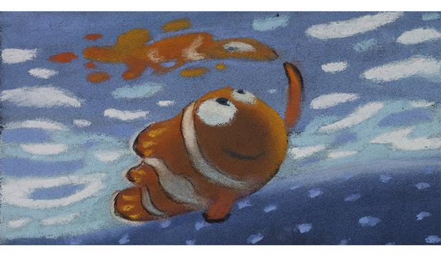 ラルフ・エッグルストン ≪遠足のシーンのパステル画≫ 『ファインディング・ニモ』(2003年) パステル/紙 ©Disney/Pixar