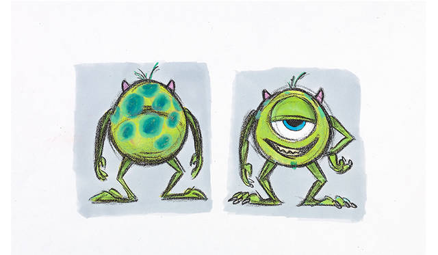 リッキー・ニエルヴァ ≪マイク:色彩の習作≫ 『モンスターズ・インク』(2001年) マーカー、鉛筆/フォトコピー ©Disney/Pixar