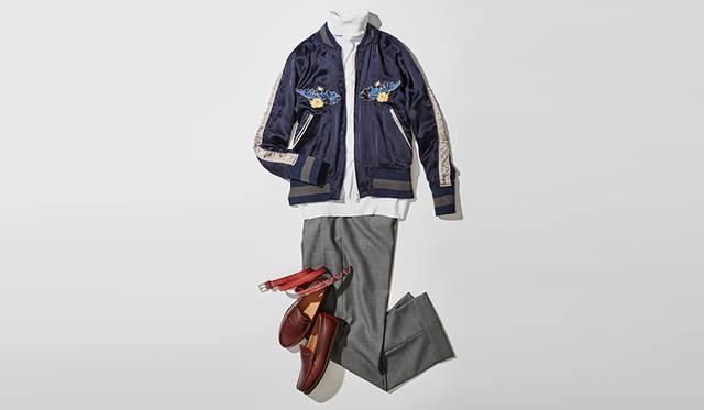 今季多くのブランドがリリースする刺繍入りスーベニアジャケットは、注目のトレンドアイテム。以前はジーンズに合わせるアメカジスタイルが定番だったが、2タックのウールパンツやエレガントなバーガンディのローファーを用いたミックススタイルがいまどきだ。<br><br>  靴2万5920円/リーガル(リーガルコーポレーション)、ブルゾン14万9904円/レインメーカー、ニット3万1320円/ジョン スメドレー(リーミルズ エージェンシー)、パンツ3万5640円/ニート、ベルト1万5660円/ダッドクラウン(ティンク)