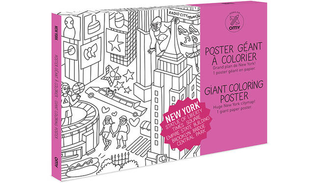 家族みんなで楽しめるデザインを提案するOMYから、ニューヨークの街がポップなイラストで描かれたビッグサイズの塗り絵ポスター。<br><br> ポスターサイズ 2052円<br> ジャイアントポスターサイズ 3240円