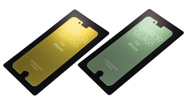 液晶バックライトがOFF時にはミラーとなる保護ガラス。色味の異なる2色で展開。iPhone 7、iPhone 7plus用ともに2,500円。9月下旬発売予定