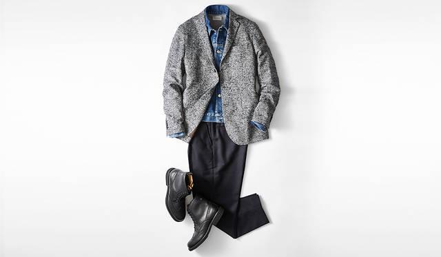 トレンドであるツイーディなブークレ素材を用いたジャケットに、ウイングチップのカントリーブーツがベストマッチ。英国カントリー調になりすぎず、都会的でモダンに見えるのは、色調をブルー系とブラックに絞っているゆえ。インナーのラフなGジャンも今季的。<br> <br> ブーツ2万8000円/リーガル(リーガル コーポレーション☎047-304-7261)、ジャケット4万400円/アティピコ(LCR テリット事業部☎03-6418-0501)、ブルゾン2万5000円/サージ、ニット3万2000円/ジョン スメドレー(ともにエストネーション☎03-5159-7800)、パンツ2万5000円/リディアル(カイタックインターナショナル☎03-5722-3684)<br>