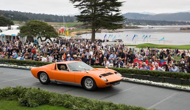 オリジナルの状態を保ちつつ日常的に使われている車両を対象とした「FIVA(the international federation of historic vehicles)トロフィ」戦後部門はランボルギーニ・ミウラSベルトーネクーペ(69年)に Copyright © Kimball Studios / Courtesy of Pebble Beach Concours d'Elegance