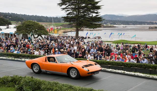 Class S(Lamborghini Miura 50th Anniversary)部門1位はLamborghini Miura S Bertone Coupé(69年) Copyright © Kimball Studios / Courtesy of Pebble Beach Concours d'Elegance