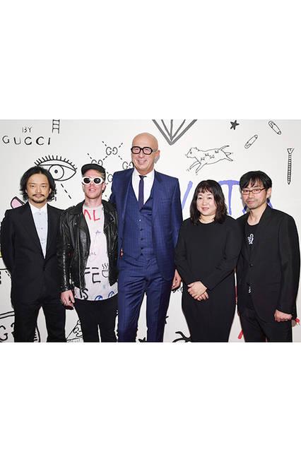 日本人アーティスト(塩田千春、真鍋大度、Mr.) <br>Courtesy of Getty Images for Gucci