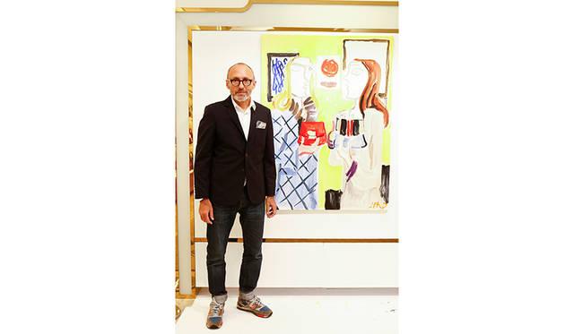 <strong>Jean-Philippe Delhomme<br> ジャン・フィリップ・デローム / ファッションイラストレーター</strong><br><br>  1959年生まれ、パリ在住。ファッションイラストレーターとしてだけでなく、ペインター、ライター、ブロガーとマルチに活躍。<br> 各分野の才能と鋭い探究心で、斬新な作品を生み出す。<br> 『VOGUE』、『GQ』等数多くのグローバル誌にイラストを寄稿するほか、ブランドや企業の広告キャンペーンも手掛ける。<br> オリジナリティとシニカルなユーモアに溢れる作風で、全世界にファンを持つ。 <br> <br> ライブペイント作品:Size W970 x H1301mm、水彩画