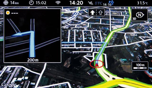 """テレマティクス機能""""Guide & Inform""""<br />Google Earth 画面"""