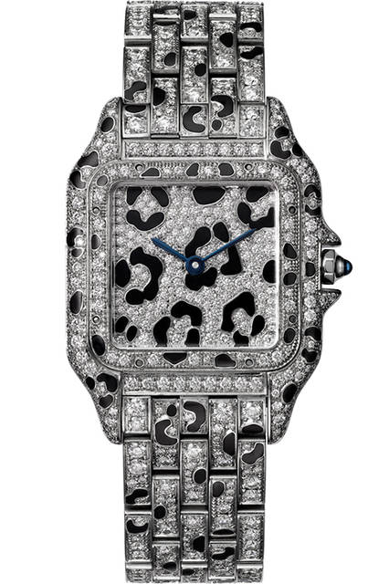 Ref.|CRHPI01096<br />ムーブメント|クオーツ<br />素材|18KWG、ブリリアントカットダイヤモンド、ブラック エナメル スポッツ<br />ケースサイズ|MM(W27☓H37mm)<br />価格|1450万円(税別予価)