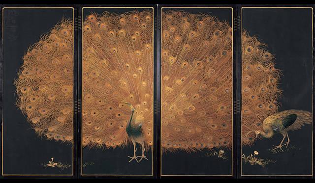 十二代西村總左衛門《孔雀図》 京都国立近代美術館蔵 制作年:1900-1910年 素材・技法:絹糸、刺繍、屏風 撮影:木村羊一