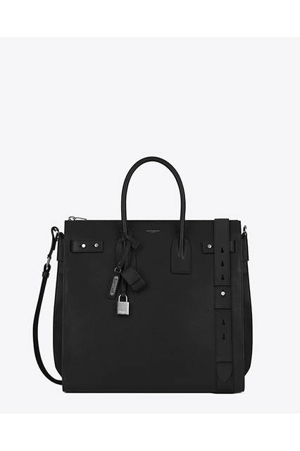 NORTH/SOUTH ZIPPED TOTE SAC DE JOUR SOUPLE IN BLACK GRAINED LEATHER