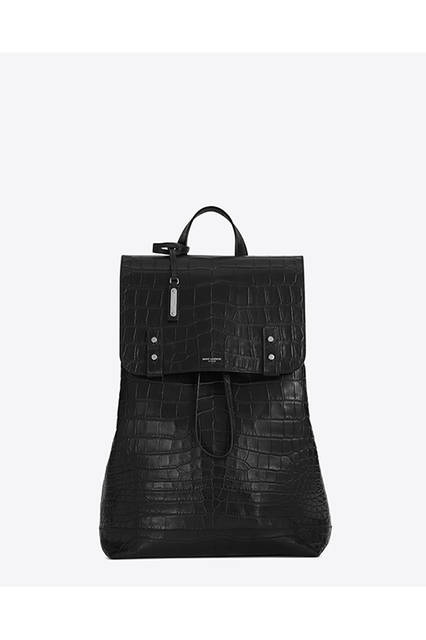 BACKPACK SAC DE JOUR SOUPLE IN BLACK EMBOSSED CROCODILE LEATHER