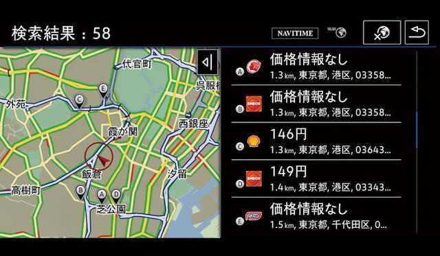 """テレマティクス機能""""Guide & Inform""""ガソリンスタンド(料金情報)画面"""