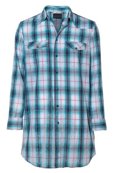 グランジファッションに欠かせないオンブレチェックのシャツ。Tシャツに羽織っても、 腰に巻いてコーディネートにプラスしても。シャツ3万5000円(ディーゼル ブラック ゴールド)