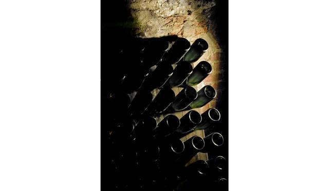 モエ・エ・シャンドンのセラーにて。瓶内二次発酵後、ボトルの口に澱を集める動瓶台。動とつくのは、斜めに刺さったボトルを少しずつ回転させ、澱を移動させるため。1800年代のシャンパーニュでの発明品のひとつ。現在はこの作業を自動化したものもある。