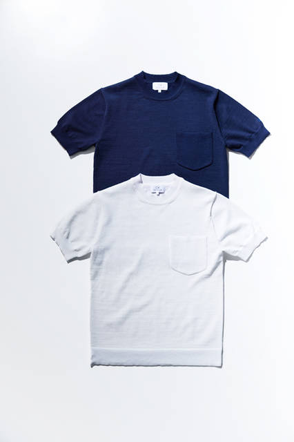 <strong>リネンポリエステル プレーティング クルーネックニットTシャツ</strong> 1万4000円(税抜)