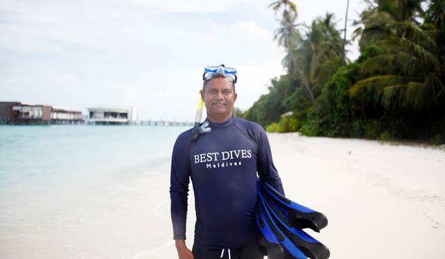 今回指導に当たってくれたのは、海の男という言葉がぴったりのモルディビアン、アーマッド・ゴーシムさん