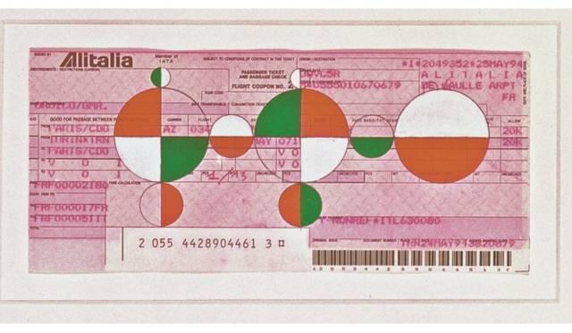ガブリエル・オロスコ《無題》2001年 グァッシュ/航空券 フーメックス財団蔵