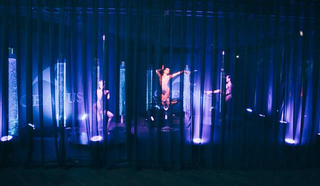 ブルーのカーテンに包まれた妖艶なオシアナス ショーガールズ