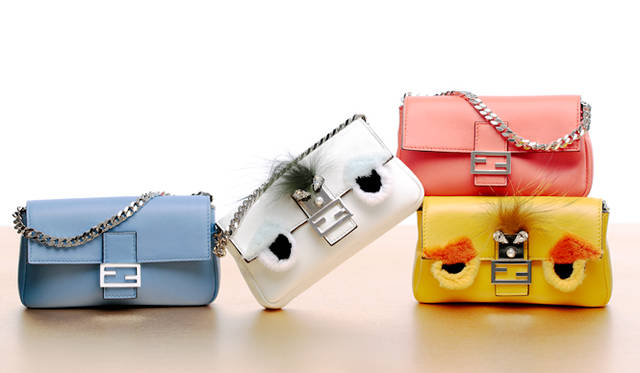 <strong>Petit & Colorful Bag</strong><br><br>  左・右上「マイクロ バケット」[H8.5×W13.5×D2.2㎝]各12万2640円、 中央・右下「マイクロ  バゲット」BAG BUGS[H8.5×W13.5×D2.2㎝]各17万3880円<br>フェンディ/フェンディ ジャパン Tel. 03-3514-6187
