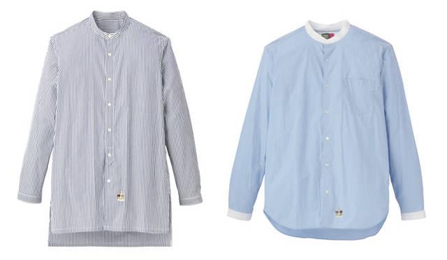 「UNITED ARROWS & SONS × TAKEO KIKUCH」左/ロングシャツ2万2680円(ネイビー/M、L、XL)、右/シャツ2万250円(ホワイト、ブルー/M、L、XL)