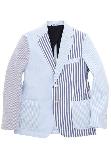 <strong>NICK WOOSTER + UNITED ARROWS</strong><br />シアサッカーとコードレーンを部分使いしたジャケット。4万9680円