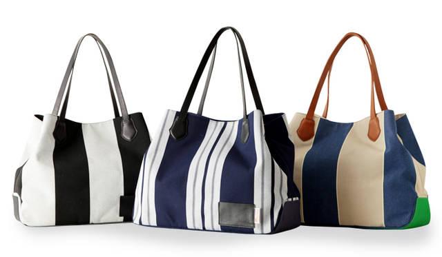 マフィアデザイン、ヴィブラム、サンブレラによるモデルは、異なるストライプを使った3種類のバッグを展開