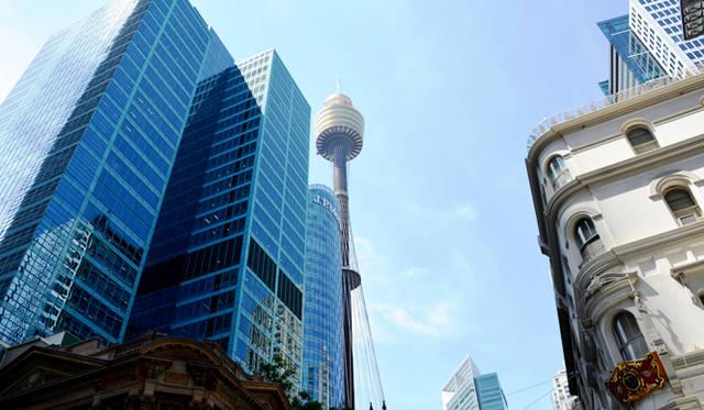 <br> CBDのシンボル、シドニータワー。上部は展望台