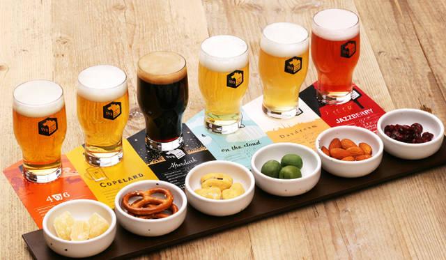6種類のビールがテイスティングできるビア・フライトと、さらにそれぞれのビールに合わせた6種類のおつまみが楽しめる「ペアリングセット」(600円〜)も提供