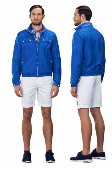 <strong>MARINA YACHTING|マリーナ ヨッティング</strong><br />2015春夏コレクション ジャケット参考商品、ポロシャツ2万2680円、パンツ参考商品