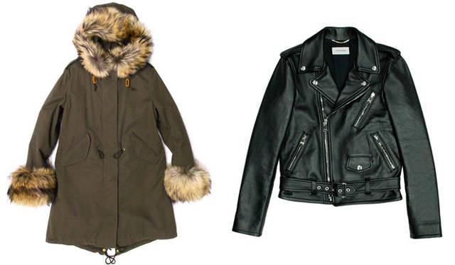 <strong>LITHIUM FEMME リチウムファム</strong><br />2015-16年秋冬コレクション 左/「OLMETEX」の生地を使った、袖がファーのモッズコート、右/ラムレザーのダブルのライダーズジャケット