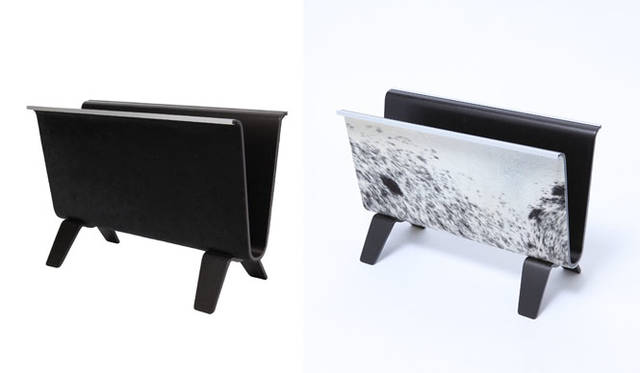 """<strong>STITCH JAPAN ステッチ ジャパン</strong><br />SAITO WOOD × MADE BY SEVEN -REUSE-  LUXURY COLLECTION「""""HAIR ON HIDE"""" PLYWOOD MAGAZINE RACK(""""ヘア オン ハイド"""" プライウッド マガジンラック)」各3万2400円"""