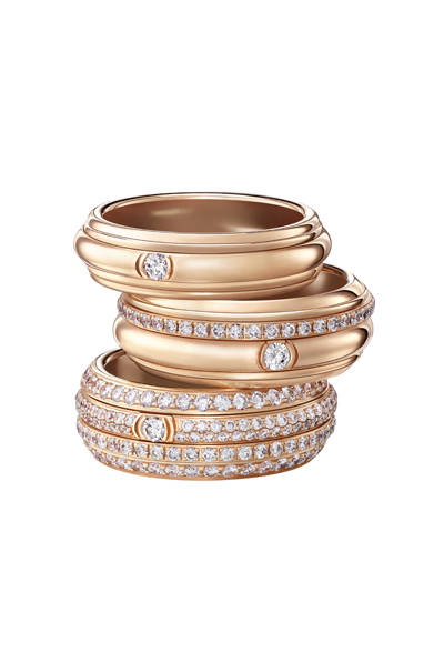 ピンクゴールドとダイヤモンドが美しく調和。POSSESSIONリング上から、28万5120円、64万6600円、202万5000円