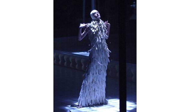 Razor clam shells dress  Artist: Alexander McQueen  Date: Voss, SS 2001  Credit line: Model: Erin O Connor. Image: firstVIEW