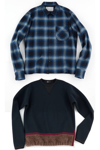 チェックのネルシャツは、 ヘリンボーンを先染めすることで深みのある表情と、柔らかなタッチをもたらした。ウールポンチのトップスは、ネックにVガゼットを施し、裾を異素材に切り替えることでほのかなモード感を演出。 <br><br>  シャツ3万4560円、プルオーバー4万2120円/カラー<阪急メンズ大阪2階『ガラージュ D.エディット』>