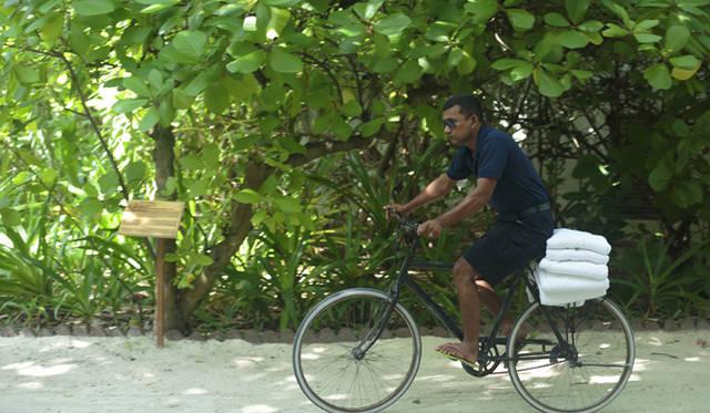 スタッフの移動も自転車で