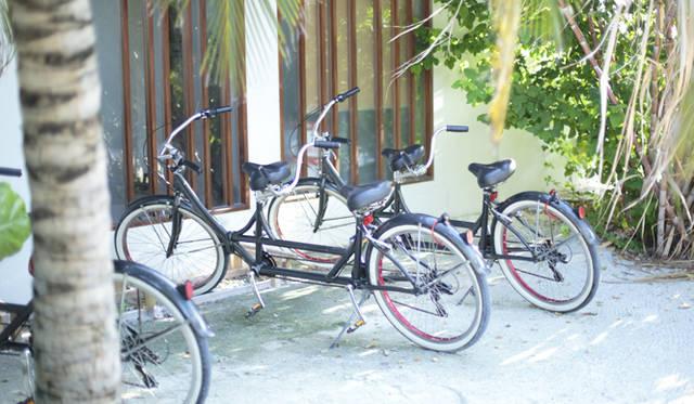 各部屋には大人用2台と子ども用1台、計3台の自転車が備え付けられている