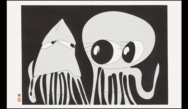 <strong>JAGDA賞2015</strong><br />受賞作品:ポスター「蛸は烏賊が好き 烏賊は蛸が苦手(北斎漫画インスパイア展)」<br />出品者:葛西 薫(デザインイベントの企画展出品ポスター クライアント:TOKYO DESIGN WEEK)