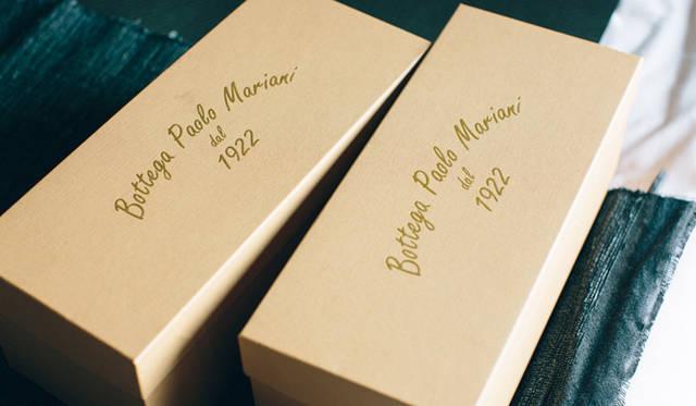 ひとつの箱のなかで靴同士が重ならないように、ボッテガ・パオロ・マリアーニでは片足に1箱、両足で2つ箱が付く。