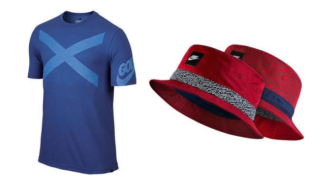 左/ナイキ ゴルフ X(メンズ Tシャツ)4320円、右/ナイキ ゴルフ ウィンド スワール(バケット キャップ)各4104円