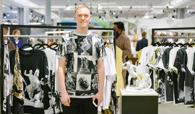 『L'Uomo Vogue』誌や『GQ Italia』が注目するブランドをピックアップする「The Latest Fashion Buzz」ブースより。スマートフォンやタブレットなどのアプリケーションを用いたアイデアなど、ユニークな手法のデザインが見受けられた<br/>©Pitti Immagine