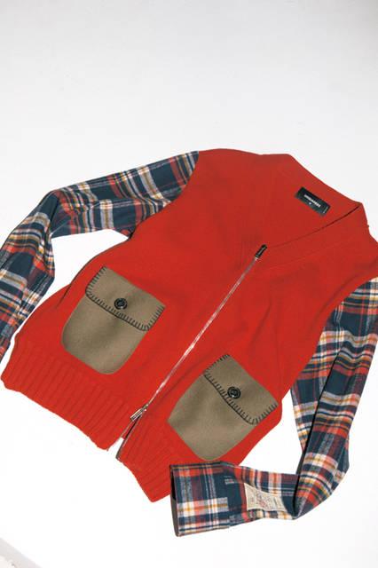 着るだけでなく、腰巻きしてもアクセントになりそうな、ニットとチェックの切り替えが洒脱なブルゾン。身頃にあしらわれたフラップのハンドステッチや裾の太めのリブがカジュアルにこなれた雰囲気を添える。秋冬のカジュアルを アップデートさせるなら、必須の一着といえる。<br><br> ブルゾン12万9600円 [阪急メンズ限定]( ディースクエアード /阪急メンズ大阪2階、阪急メンズ東京2階)