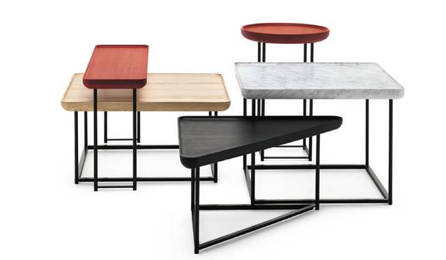 <strong>Cassina ixc.|カッシーナ・イクスシー</strong><br />ルカ・二ケットデザインの「TOREI(トレイ)」テーブルに新仕様を追加。形、色、素材のバリエーションが豊かに。新作アイテム「TOREI table」(Design:Luca Nichetto)レクタングラー 16万7400円~、スクエア 21万600円~、トライアングル 18万3600円~、ラウンド 16万2000円~