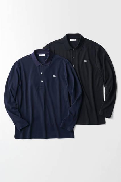 同ブランドの定番アイテムとなったロンポロも、さらなる進化を遂げた。ウールと吸水速乾性のあるクールマックス®ファブリックを混紡し、外気と室内の寒暖差に対応できる機能性をもつ。<br /> ポロシャツ1万3000円(ラコステ)