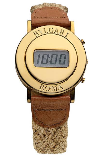 「ブルガリ・ローマ」のオリジナルモデル<br /><br /> 「40周年のブルガリ・ブルガリ」のメイン展示品となる「ブルガリ・ローマ」のオリジナルモデル。古代ローマのコインに着想を得てデザインされ、1975年に顧客へのクリスマスギフトとして限定生産されたデジタルウォッチが大きな話題となり、本格的な時計製造に取り組むきっかけとなった