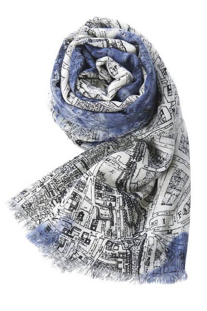 <strong>pas de calais パドカレ</strong><br />2015-16年秋冬コレクション「パリ エディション コレクション」シルクWガーゼParis Map プリントストール(ベージュ)
