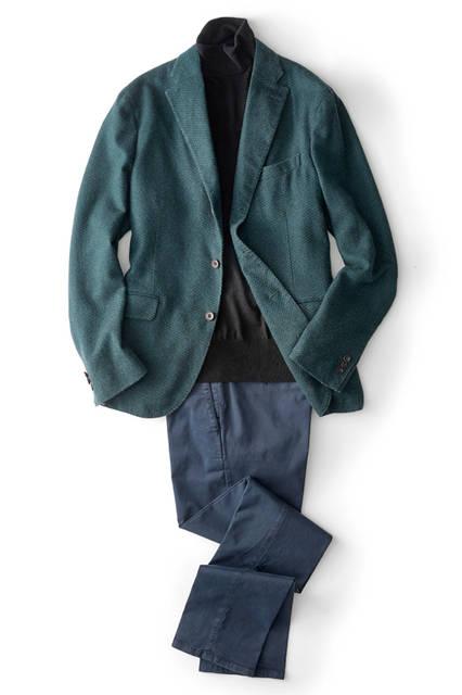ジャケット27万円[ボリオリ 東京店限定]、ニット3万5000円、パンツ3万5000円/すべてボリオリ