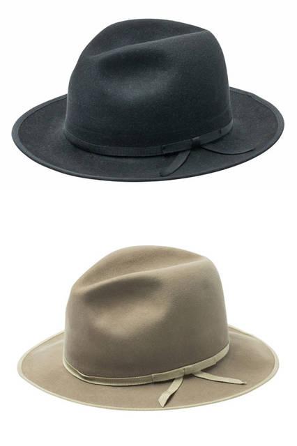 <strong>STETSON|ステットソン</strong><br />「150周年アニバーサリーアイテム」 ステットソンのシグネチャーモデル「WHIPPET(ウィペット)」をベースにしたモデル。帽材として最高級のビーバーを用いたプレミアムな仕様で、ハイクラウンに細いリボンを合わせることで、クラシカルな表情をもつアイテムに仕上げている。マニッシュ(カラー:ブラック、ベージュ)各6万3720円