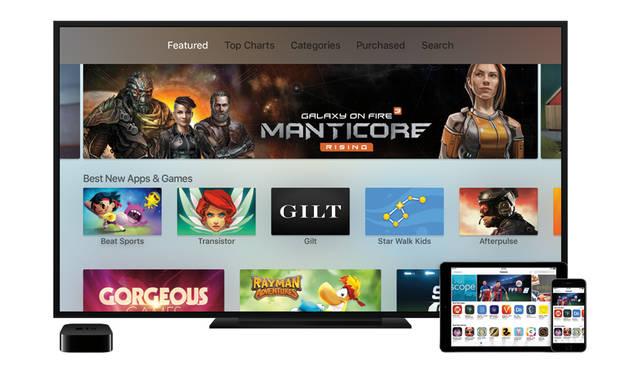 iPad、iPhoneなどとおなじようにApp Storeにが利用できる。tvOSに対応する専用アプリに期待したい